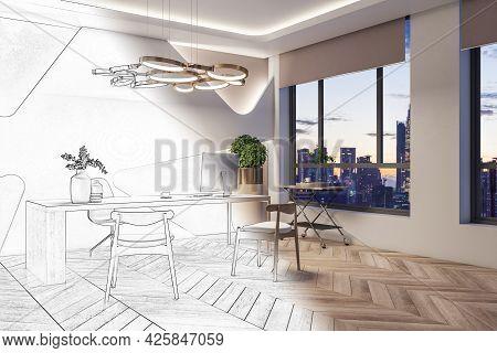 Modern Office Interior Blueprint. Repairs And Refurbishment Concept. 3d Rendering