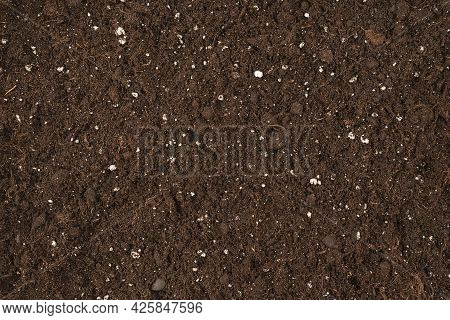 Black Land Ground For Plant Background Top View Fertile Soil Texture Background Seen From Above Gard