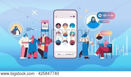 Arabic People Communicating In Instant Messengers By Voice Messages Audio Chat Application Social Me
