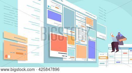 Developer Using Smartphone Creating Mobile App Ui Interface Web Application Development Program Soft