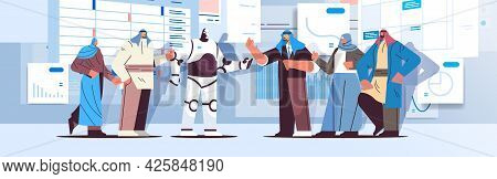 Robot With Arab Businesspeople Analyzing Statistics Graphs And Charts Financial Data Analyzing Artif