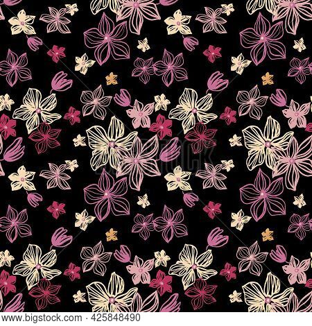 Abstract Flowers Vector Seamless Pattern With Drawing Yellow, Pink, Silver, Red . Floral Watercolor