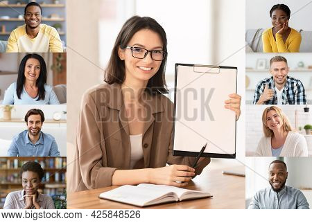 Online Tutoring Concept. Female Tutor Having Virtual Lesson With Group Of Students