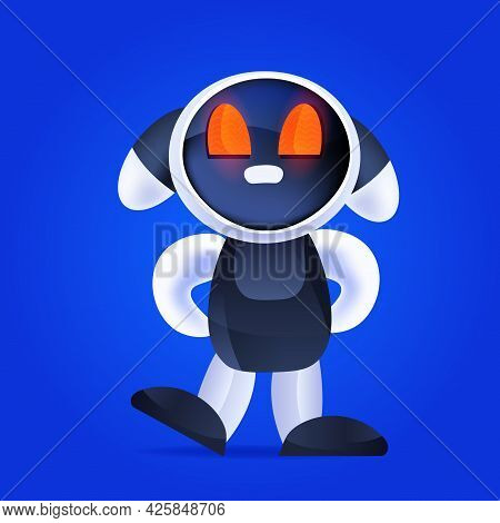 Cute Robot Cyborg Modern Robotic Character Artificial Intelligence Technology Concept