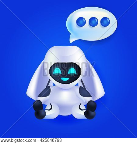 Cute Robot Cyborg Chat Bubble Communication Chatbot Customer Service Artificial Intelligence Technol