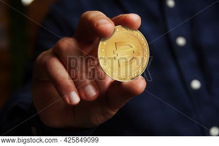 Dai Stablecoin Cryptocurrency Symbol Golden Coin Illustration