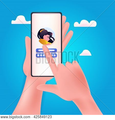 Hands Entering Passcode In Mobile Account On Smartphone Screen Locked Privacy Security Protection Co