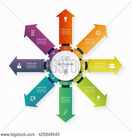 Modern Business Infographic Circle With 8 Arrows Pointing From The Center. 8-step Vector Template Fo