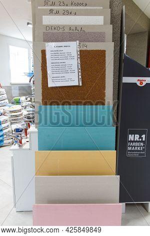 Multi-colored Samples Of Plasterboard For Interior Decoration