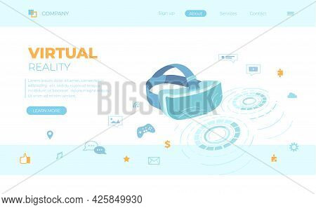 Virtual Augmented Reality Glasses, Vr Concept, Applications. Headset With Hologram Of Abstract Round