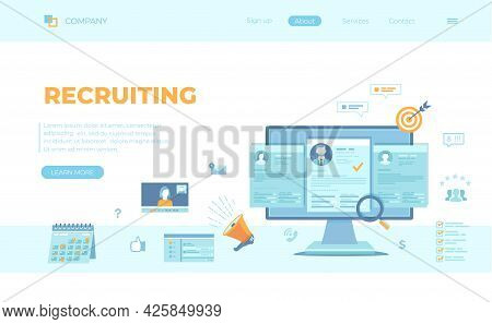 Recruitment Platform, Agency, Hr. Human Resources, Employment, Selection Of The Best Candidate. Resu