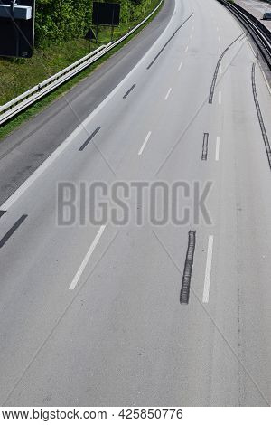 The Autobahn With Left Over Road Works Marks