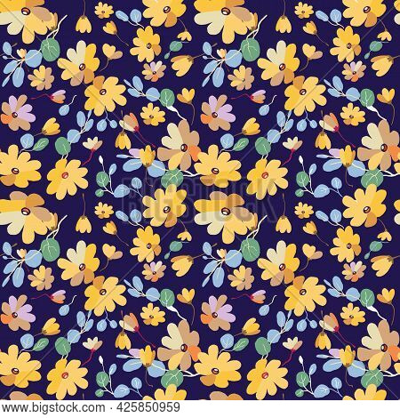 Cute Pattern In Small Flowers With Eucalyptus. Small Pink, Yellow Flowers. Exotic Blue Background. D