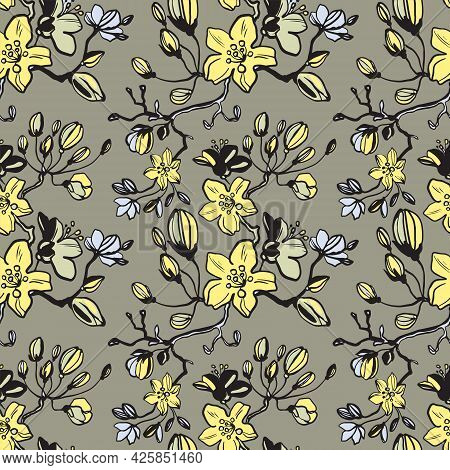 Yellow Daisies, Dahlias Flower Seamless Pattern On Beige, Brown Background. Daisy Field. Ditsy Flora
