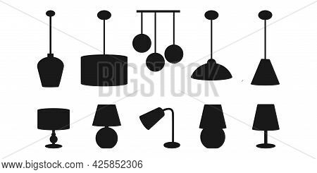 Set Of Icons With Chandeliers And Lamps. Table Lamps And Ceiling Chandeliers. Design Idea. Lighting.