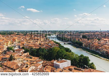 Amazing View Of Verona City From The Hill, Italy. Beautiful Cloudy Sky.