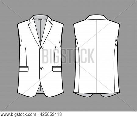 Sleeveless Jacket Lapelled Vest Waistcoat Technical Fashion Illustration With Single Breasted, Butto