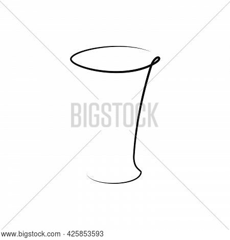 Tequila Wineglass With A Beverage On White Background. Graphic Arts Sketch Design. Black One Line Dr