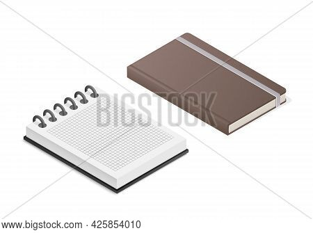 Notebook Notepad Set. Colored Isometric Vector Illustration. Isolated On White Background.