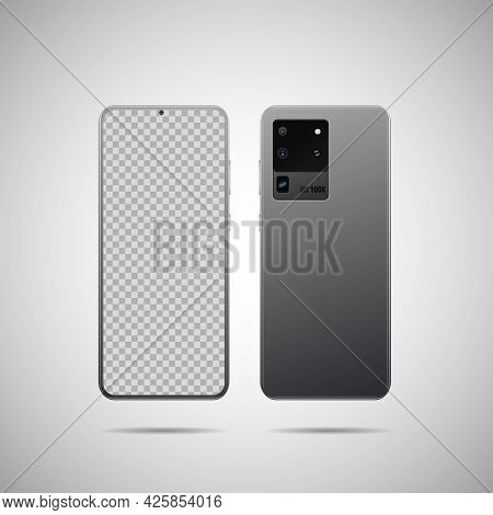 Realistic Vector Illustration. Front And Back Side Smartphone With Transparent Screen. Mock-up Scree