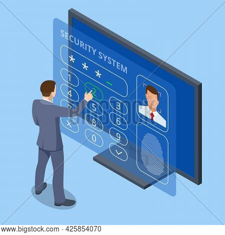 Isometric Facial Recognition System Concept. Finger Print Scan For Enter Security System, Biometric