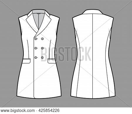Sleeveless Jacket Lapelled Vest Waistcoat Technical Fashion Illustration With Double Breasted Fitted