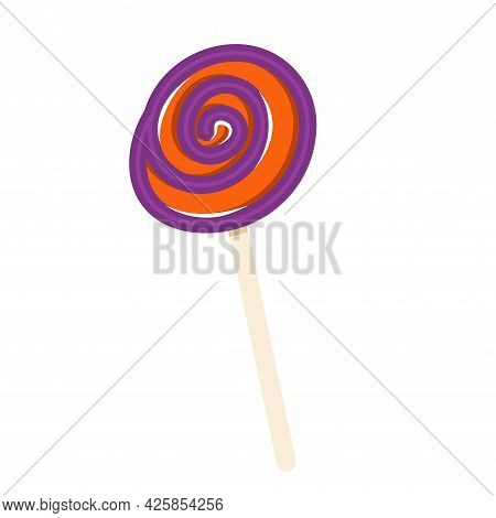 A Round Spiral Candy On A Halloween Stick Is Isolated On A White Background. Vector Illustration In
