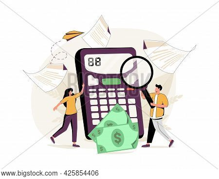 Doing Taxes Accounting And Annual Financial Paperwork Tiny Person Concept. Money Fee Calculation And