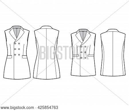 Set Of Sleeveless Jackets Lapelled Vests Waistcoat Technical Fashion Illustration With Notched Colla