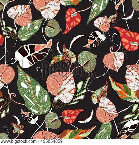 Anthurium. Seamless Floral Pattern With Pink, Red Flowers And Anthurium Leaves. Drawn Tropical Patte