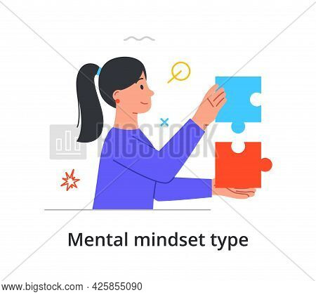 Mental Mindset Type With Woman With Logistical Mind Problem Solving With Two Puzzle Pieces Or Coming