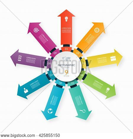 Modern Business Infographic Circle With 9 Arrows Pointing From The Center. 9-step Vector Template Fo