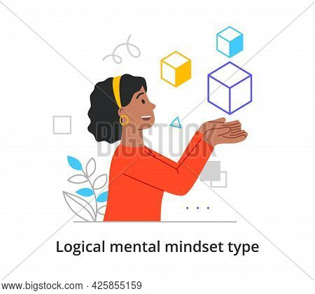Concept Of Type Of Mental Thinking With Woman With Logical And Mathematical Mindset. Female Characte