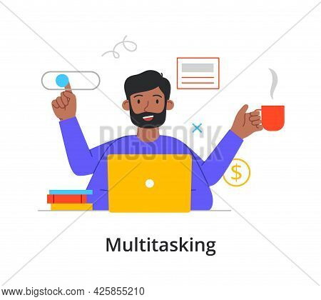 Successful Black Businessman Multitasking Using A Laptop Computer And A Virtual Interface While Enjo