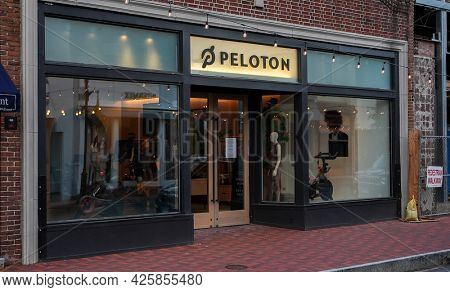 WESTPORT, CT, USA - JULY 4, 2021:  Peloton store entrance view from Main Street in down town area