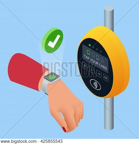 Isometric Hand Using Paper Smart Card Ticket To Pay Money For Transportation At Payment Kiosk Stand.
