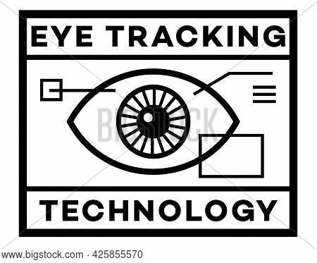 Eye Tracking Isolated On White Sign , Badge, Stamp