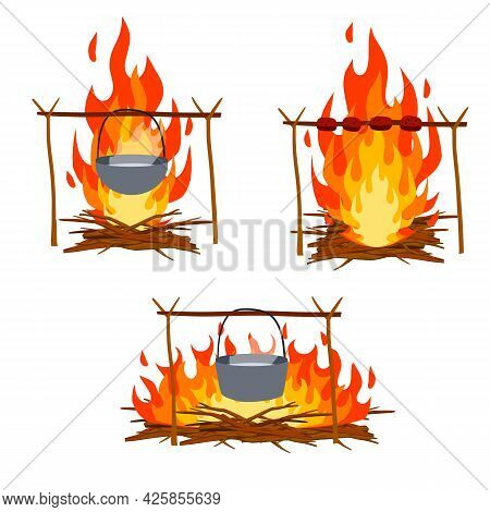 Fire With Branches And Stones. Cartoon Flat Illustration. Cooking In The Campaign. Campfire With Pot