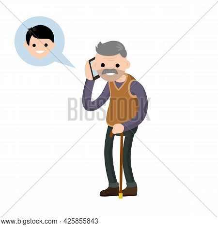 Grandfather Call Grandson On Phone. Talk Old Senior Man And Boy. Cartoon Flat Illustration. Communic