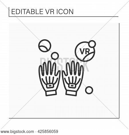 Haptic Gloves Line Icon. Special Virtual Reality Gloves. 3d Textile Feeling. Touch Screen. Perfect G