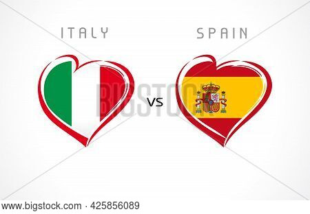Italy Vs Spain, Flags In Heart Emblem. Italian And Spanish National Team Soccer Flags On White Backg