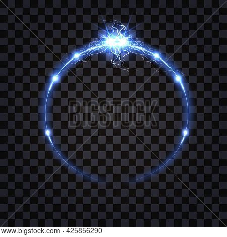 Electric Vs Discharge Effect, Lightning Collision. Blue Light Shock Impulss Clash.  Glowing Flash An