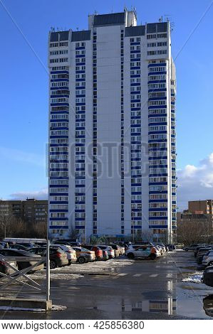 Balashikha, Russia - March 19, 2021. View Of The Parking Lot In Front Of The High-rise Residential B