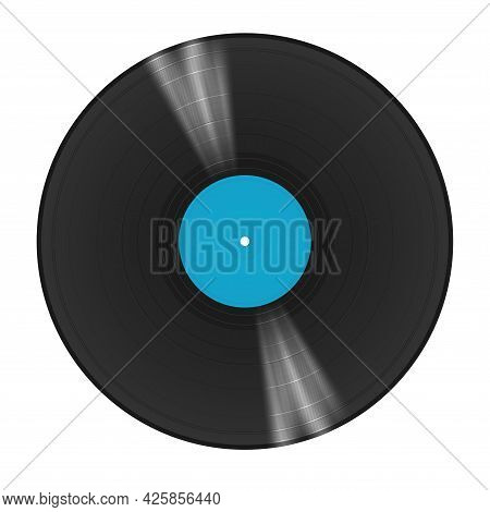 A Long-playing Vinyl Record With A Blue Sticker In The Center Of The Disc