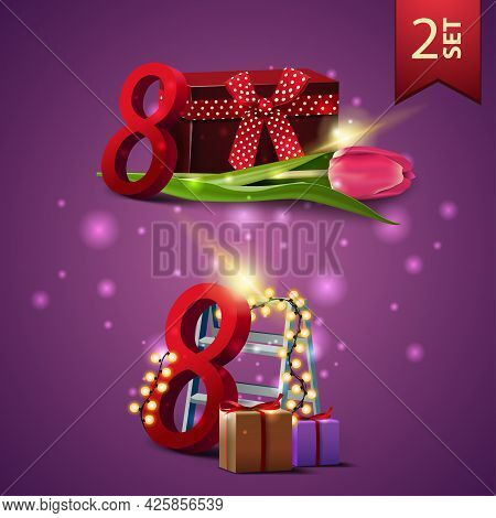 Set Of Women's Day Icons, Gift, Tulip And Garland