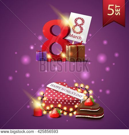 Set Of Women's Day Icons, Gifts With The Number Eight And Gift In The Shape Of A Heart
