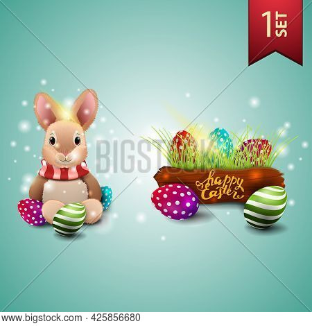 Set Of Easter Icons, Easter Bunny And Easter Eggs