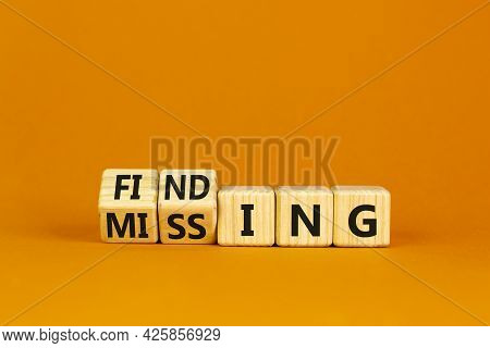 Finding Or Missing Symbol. Turned Wooden Cubes And Changed The Word Missing To Finding. Beautiful Or