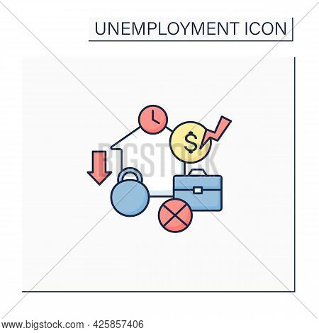 Structural Unemployment Color Icon. Mismatch Between Jobs Available And Unemployed Skill Levels. Lon