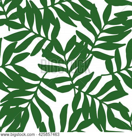 Vector Seamless Pattern Of Tropical Green Leaves Overlapping Each Other On A White Background For A